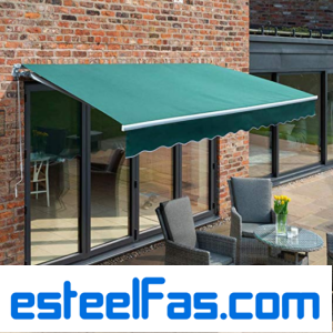 Primrose 2.5m Manual Awning – Plain Green Mayfair DIY Patio Awning Gazebo Canopy (8ft 2″) Complete with Fittings and Winder Handle