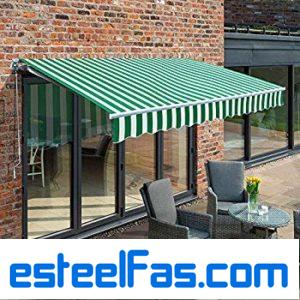 Primrose 3.0m Manual Awning – Green and White Mayfair DIY Patio Awning Gazebo Canopy (9ft 8″) Complete with Fittings and Winder Handle