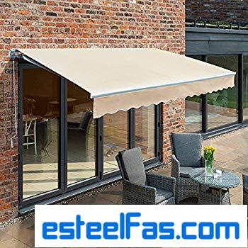 Primrose 3.5m Manual Awning – Ivory Mayfair DIY Patio Awning Gazebo Canopy (11ft 6″) Complete with Fittings and Winder Handle